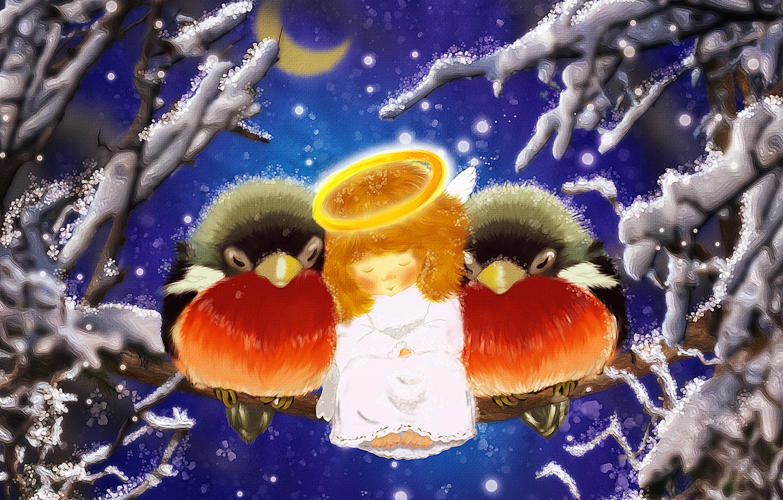 Photo wallpaper figure, photoshop, Christmas, angel, postcard