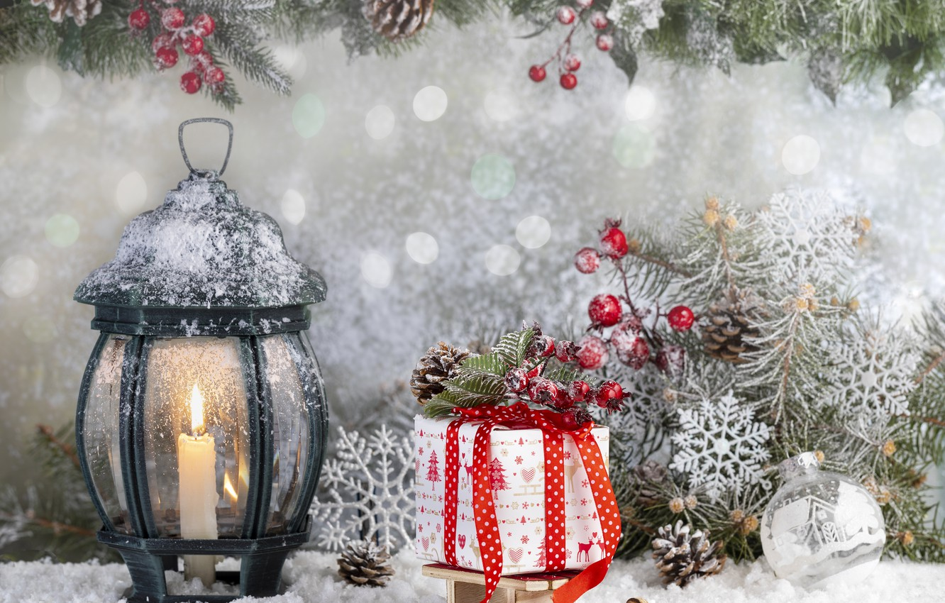 Photo wallpaper winter, snow, branches, toys, ate, Lantern, gifts, New year, bumps