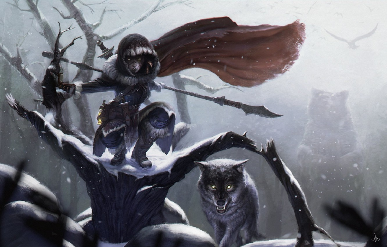 Photo wallpaper cold, winter, wolf, grin, brown bear, dark forest, burning eyes, evil eye, shaman, mater, by …