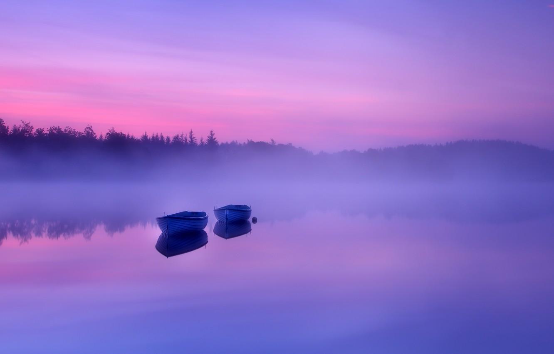 Photo wallpaper fog, river, photo, boats