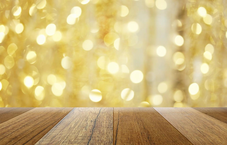 Photo wallpaper background, tree, Board, golden, gold, gold, wood, background, bokeh, bokeh, table, sparkle