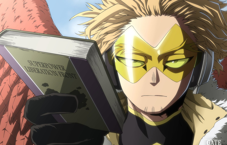 Photo wallpaper wings, glasses, book, guy, My Hero Academia, Boku No Hero Academy, My Hero Academy