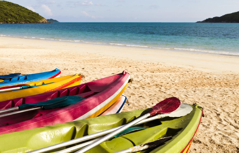 Photo wallpaper sand, sea, wave, beach, summer, boats, colorful, summer, beach, sea, blue, sand, wave, boats