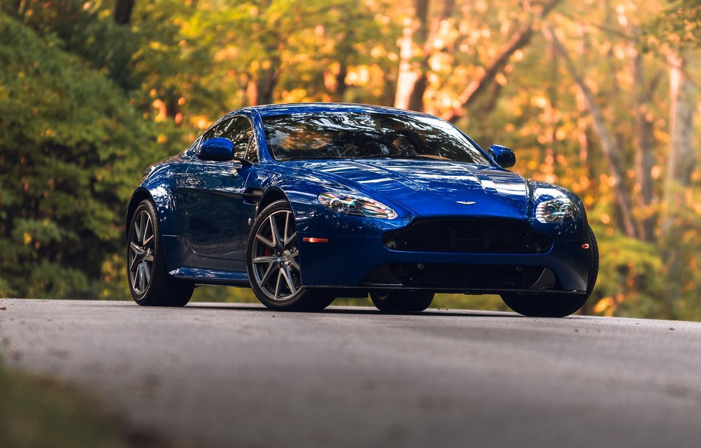 Photo wallpaper Aston Martin, Vantage, Blue