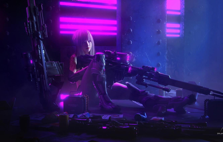 Photo wallpaper look, girl, weapons, art, cyborg, Cyberpunk