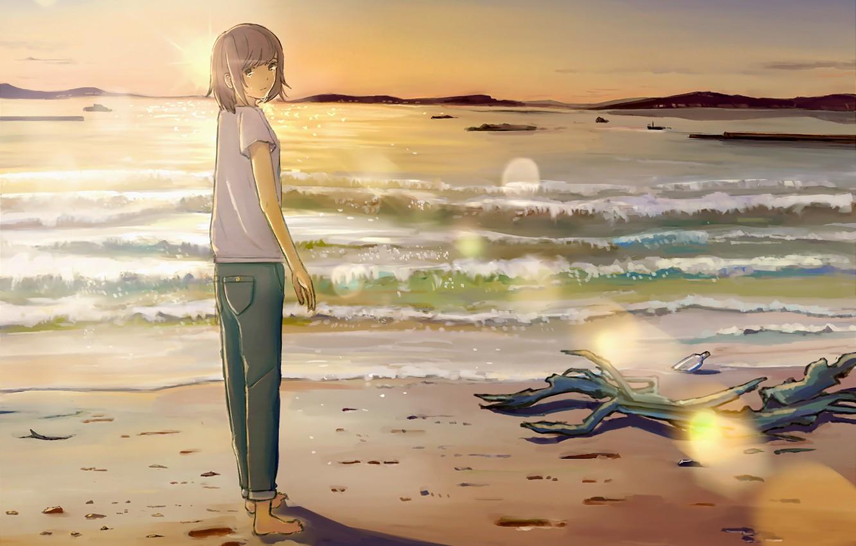 Photo wallpaper sea, summer, the sky, girl