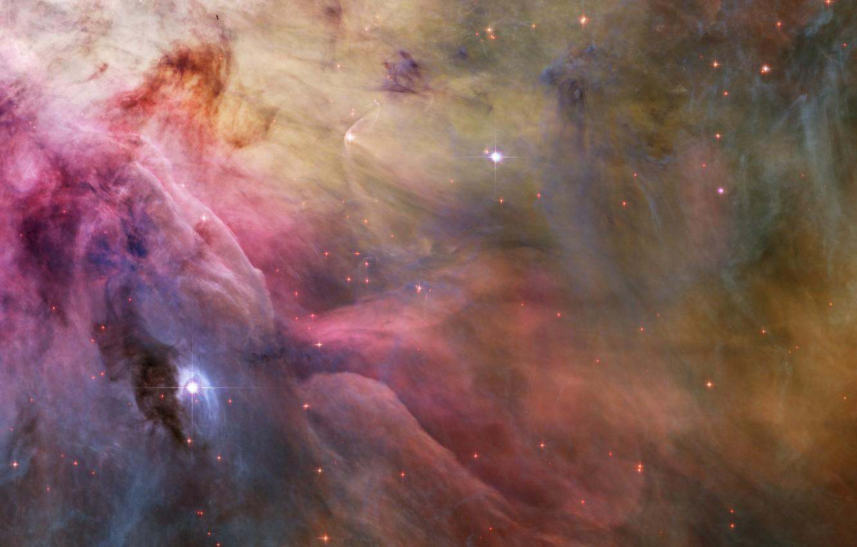 Photo wallpaper space, stars, nebula, dust fiber