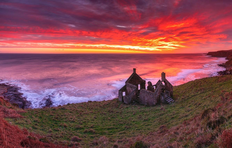 Photo wallpaper sea, sunset, shore