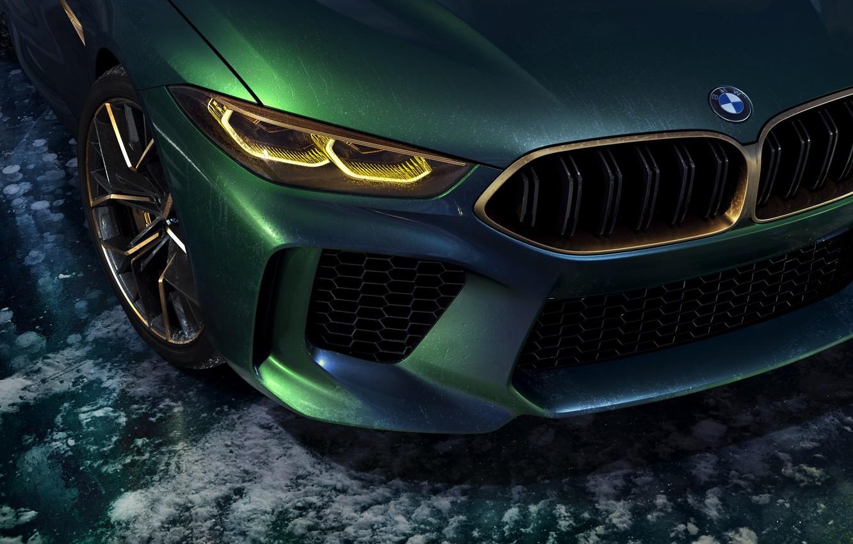 Photo wallpaper coupe, BMW, 2018, the front part, M8 Gran Coupe Concept