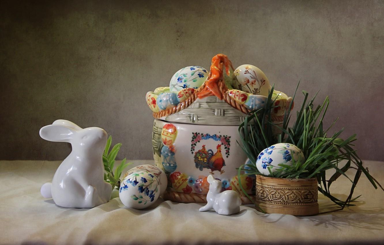 Photo wallpaper grass, holiday, eggs, Easter, rabbits, figures, composition, Kovaleva Svetlana