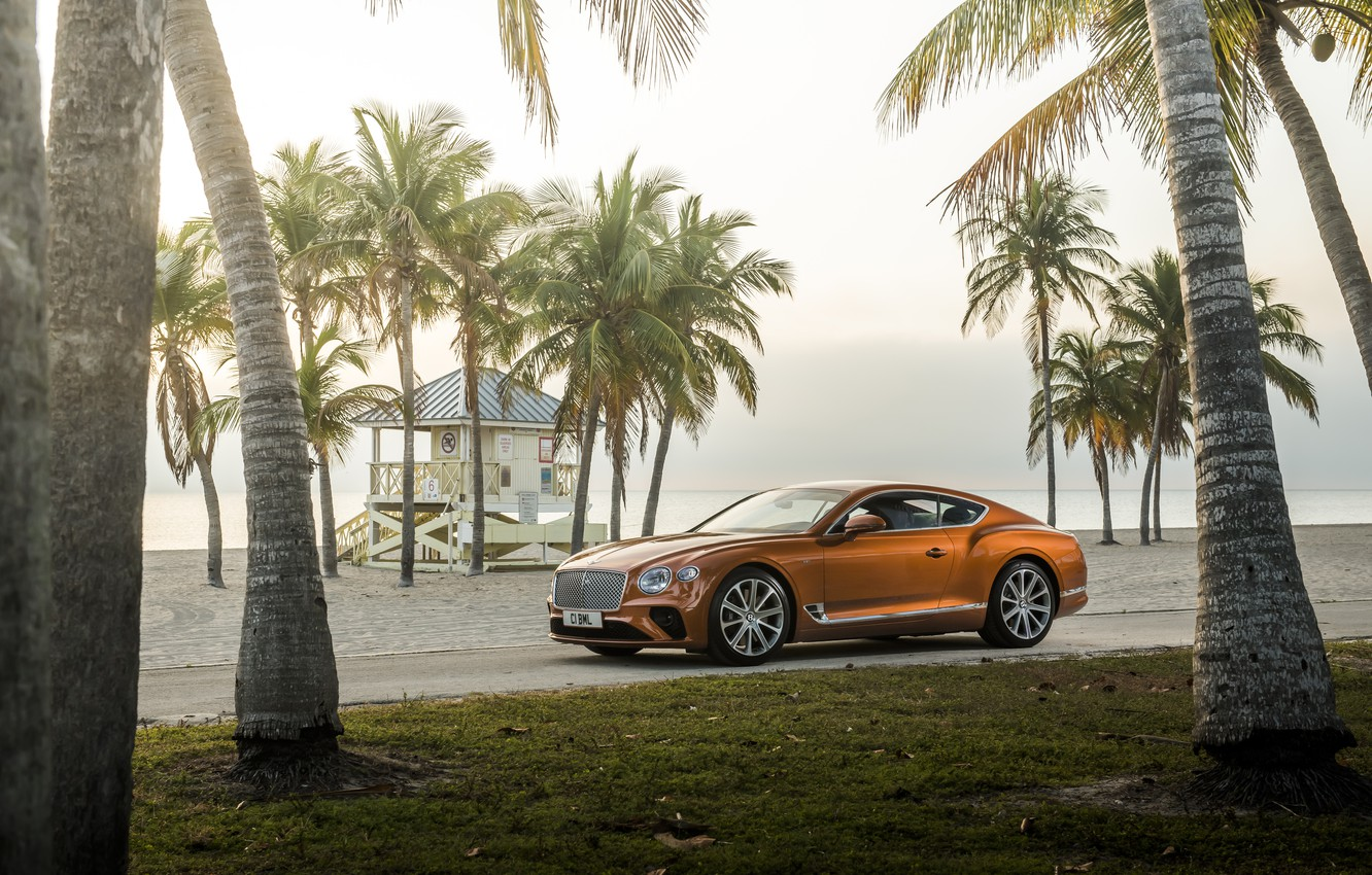 Photo wallpaper machine, beach, palm trees, coupe, Bentley, Continental, GT V8