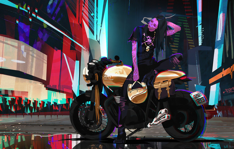 Photo wallpaper Girl, Style, Girl, Bike, Motorcycle, Fantasy, Art, Art, Style, Fiction, Neon, Fiction, Concept Art, Motorcycle, …