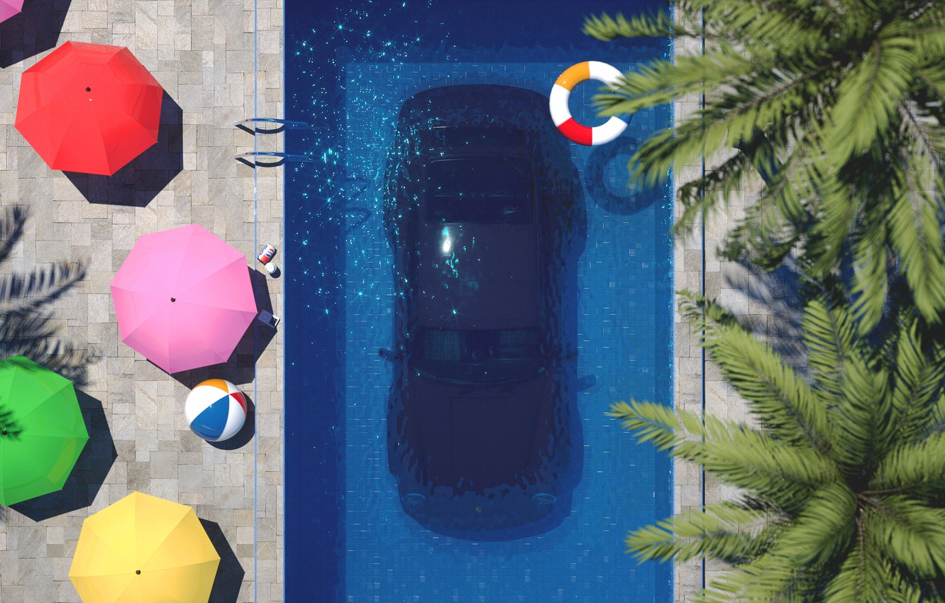 Wallpaper Auto Machine Pool Style Art Art 80s Porsche 911 Style Under Water Rendering Illustration Concept Art Vehicles 80 S Synth Images For Desktop Section Rendering Download