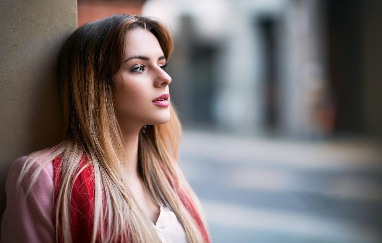 Photo wallpaper girl, long hair, photo, photographer, blue eyes, model, lips, face, coat, blonde, portrait, mouth, makeup, …