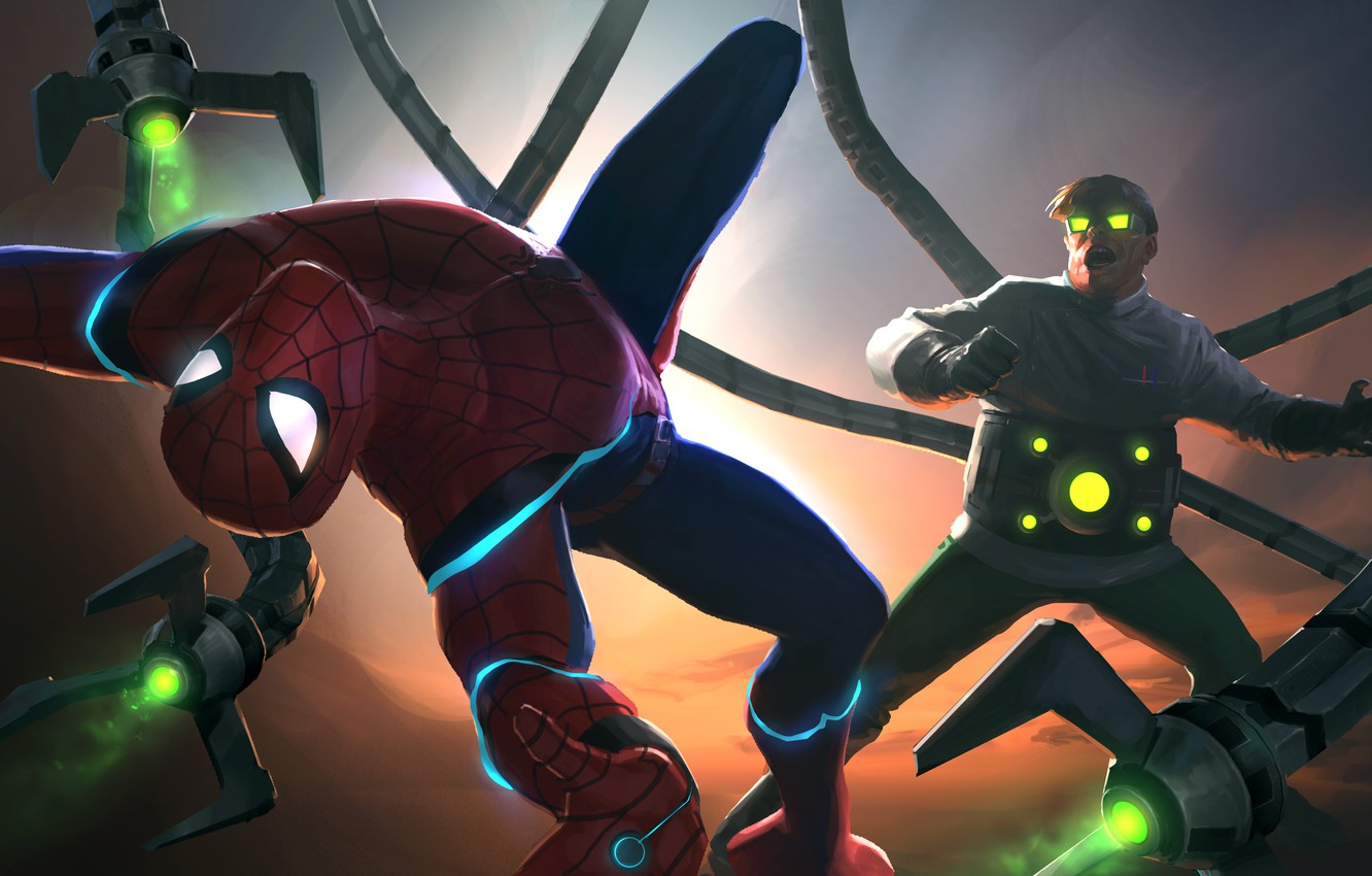 Photo wallpaper Peter Parker, Doctor Octopus, Spider Man, Fight, Otto Octavius