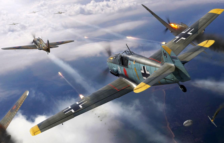 Photo wallpaper Hawker Hurricane, Bf-109, RAF, Bf.109E, Combat aircraft