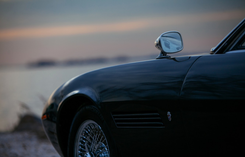 Photo wallpaper black, Maserati, mirror, 1969, Roadster, body, spider, Ghibli Spider