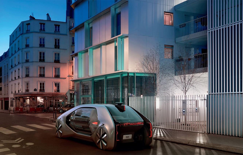 Photo wallpaper machine, street, the evening, Renault, electric cars, Renault EZ-GO