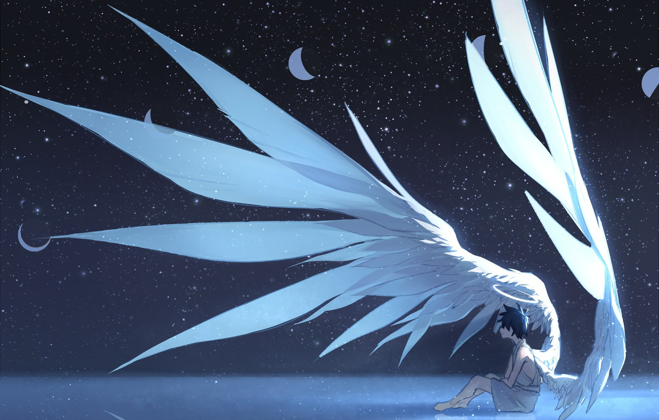 Photo wallpaper the sky, night, the moon, angel, guy, phase, Arsh