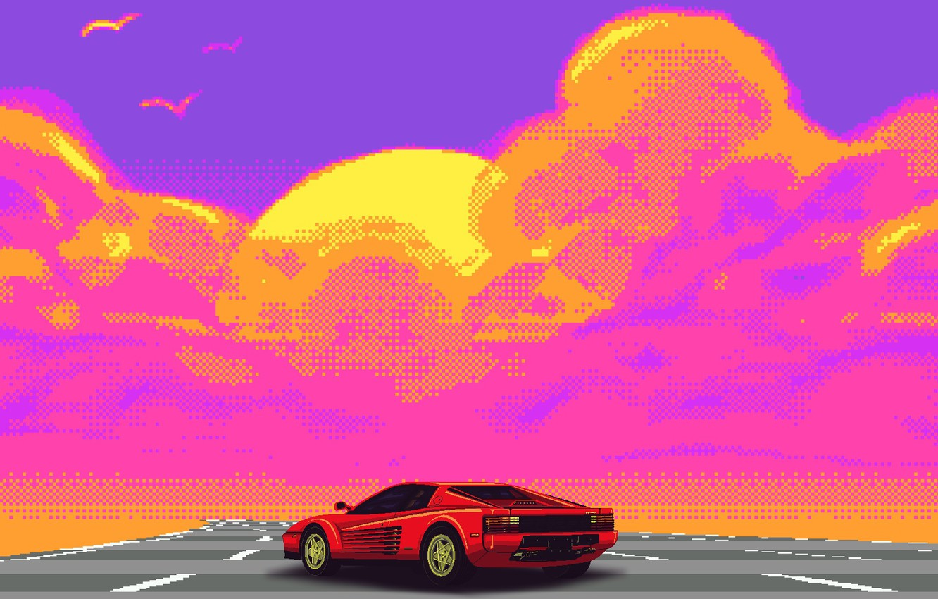 Wallpaper Auto Music Retro Machine Style Ferrari Music Style Supercar Pixel Pixel Illustration Testarossa 80 S Synth Retrowave Images For Desktop Section Rendering Download