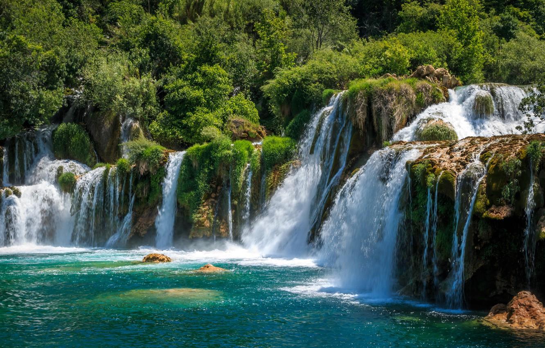 Photo wallpaper waterfalls, Croatia, Krka National Park