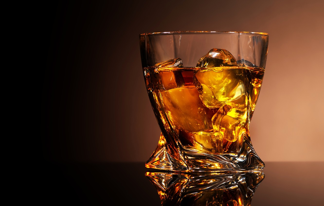 Photo wallpaper glass, reflection, background, ice, alcohol, whiskey, glass