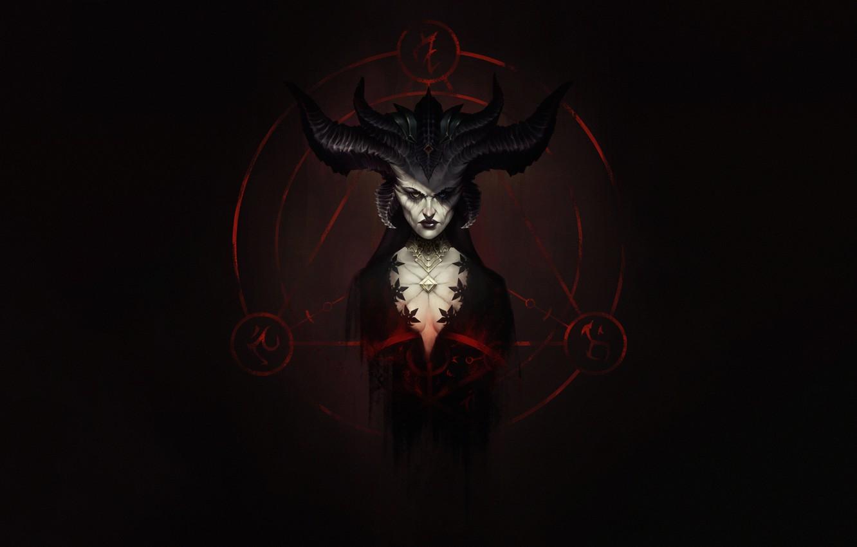 Photo wallpaper Fantasy, Horns, Blizzard, Art, Fiction, Diablo, Game, Diablo, Blizzard Entertainment, Lilith, Lilith, Character, Succubus, Game …