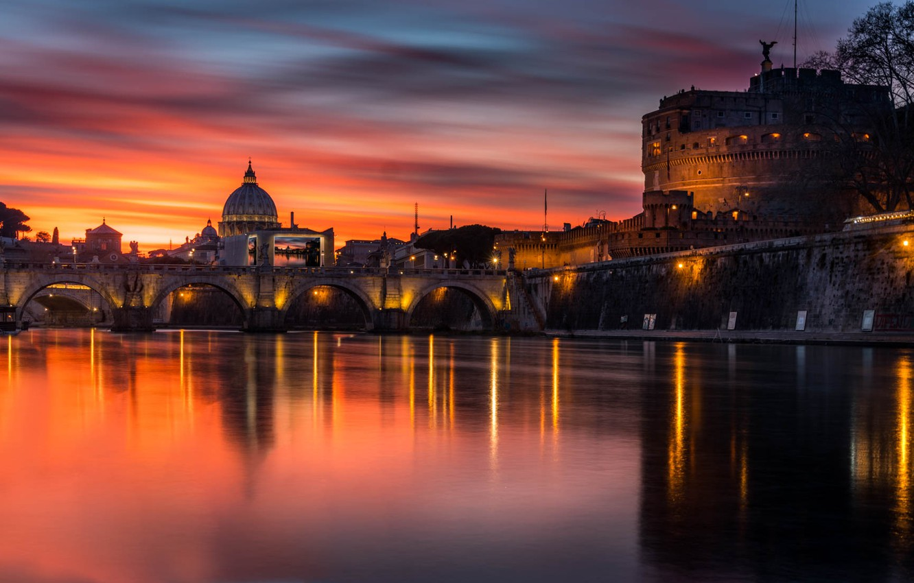 Photo wallpaper sunset, bridge, the city, building, the evening, lighting, Rome, Italy, Cathedral, The Vatican
