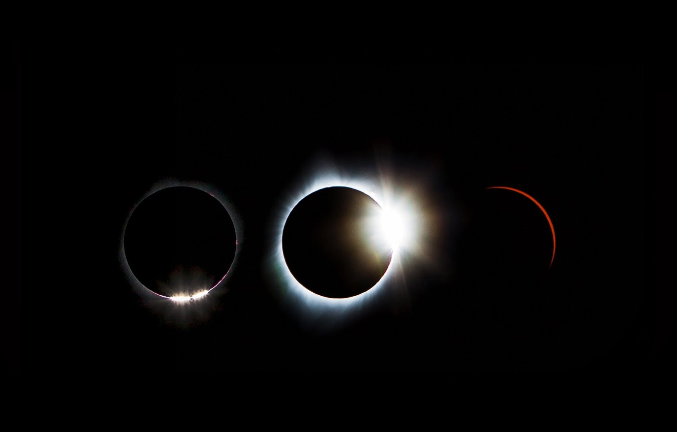 Photo wallpaper solar Eclipse, the sequence, August 21, 2017.