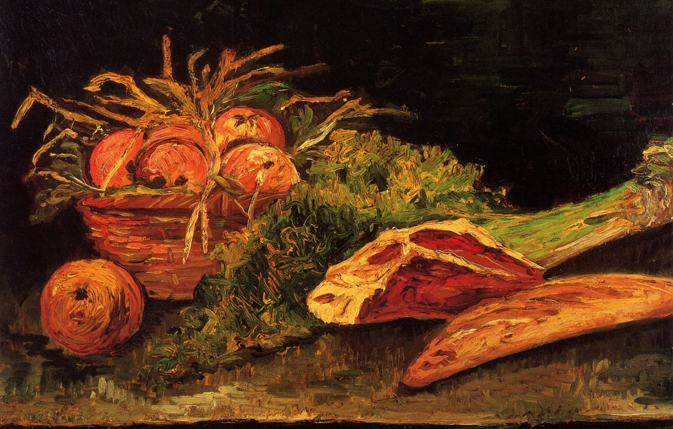 Photo wallpaper Vincent van Gogh, Still Life with Apples, Meat and a Roll