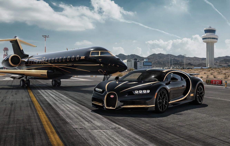 Photo wallpaper rendering, Bugatti, supercar, Private Jet, Chiron