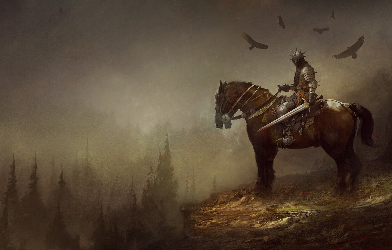 Wallpaper Horse Forest Armor Sword Horse Fantasy Knight Fiction Illustration Knight Rider Sword Forest Characters Armor Horse Images For Desktop Section Fantastika Download