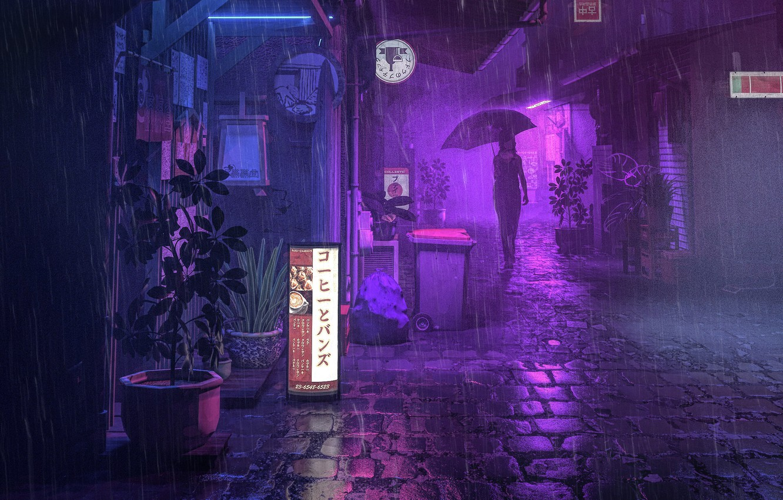 Photo wallpaper Night, People, Street, Rain, Umbrella, Art, The shower, Lane, by beeple, beeple, PURPLE RAIN