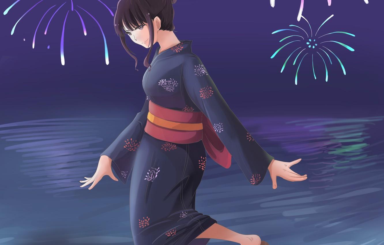 Photo wallpaper girl, night, salute, fireworks