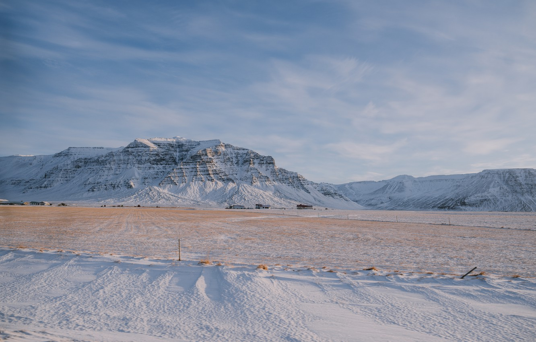 Photo wallpaper winter, snow, mountains, rocks, view, waterfall