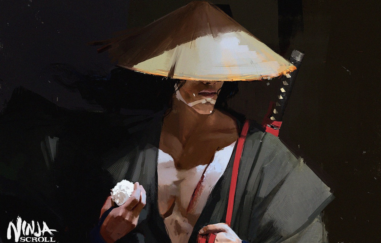 Photo wallpaper katana, samurai, figure, Japanese clothing, art, arm, straw hat, Maciej Kuciara, Jubei, Manuscript ninja, Ninja …