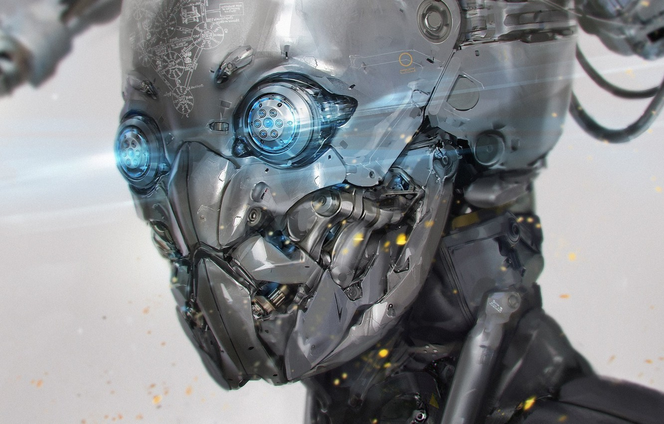 Photo wallpaper mechanism, robot, monster, cyborg, Android, iron person, burning eyes