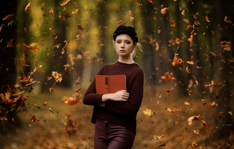 Photo wallpaper autumn, leaves, Disha Shemetova, Ilya Garbuzov, Girl Autumn