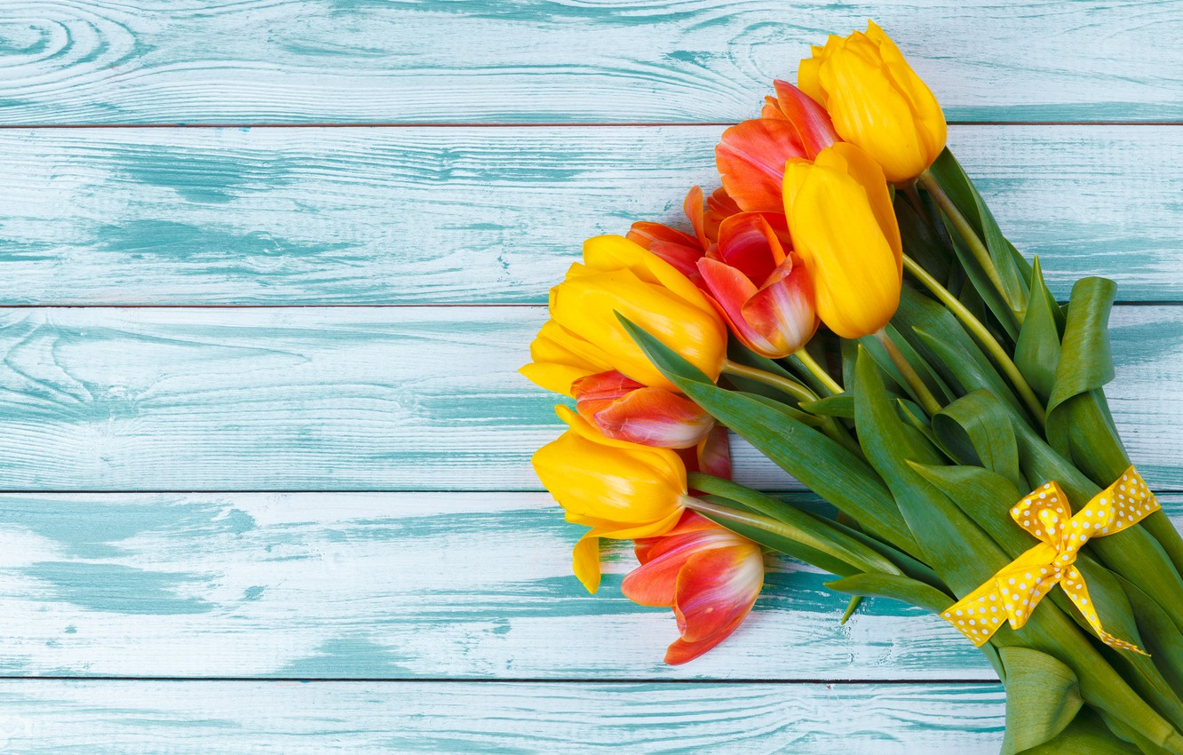 Photo wallpaper flowers, bouquet, tulips, red, yellow, wood, flowers, tulips