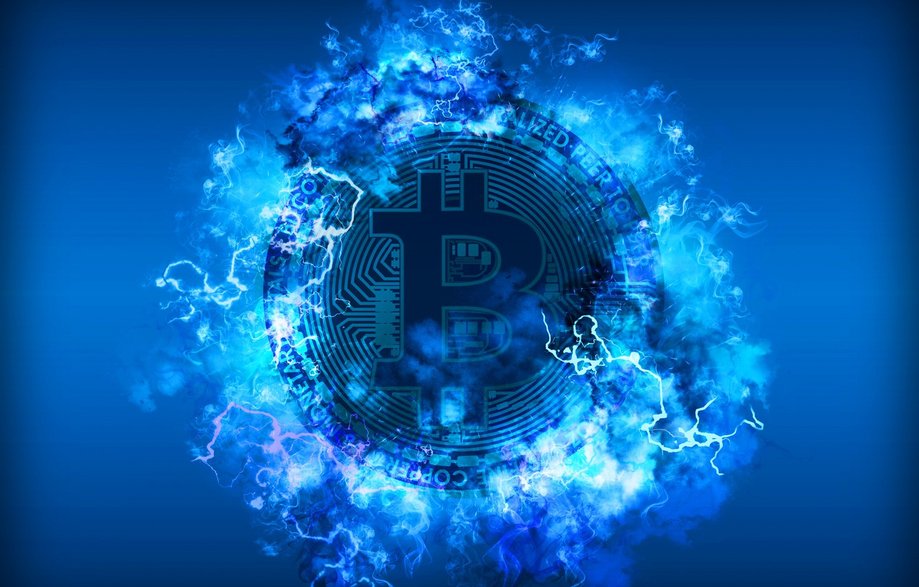 Photo wallpaper blue, lightning, blue, fon, coin, bitcoin, bitcoin, btc