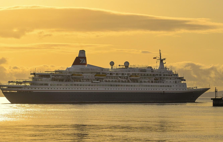 Photo wallpaper sea, the sky, sunset, ship, liner