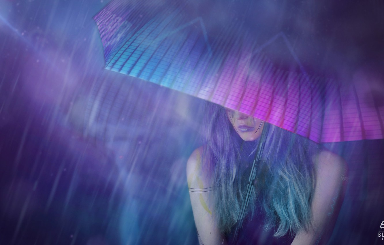 Photo wallpaper Girl, Night, Figure, Umbrella, Art, Art, Rain, Concept Art, Cyberpunk 2077, Science Fiction, Cyberpunk, Matte ...