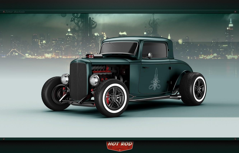 Photo wallpaper car, city, green, ford, hot rod