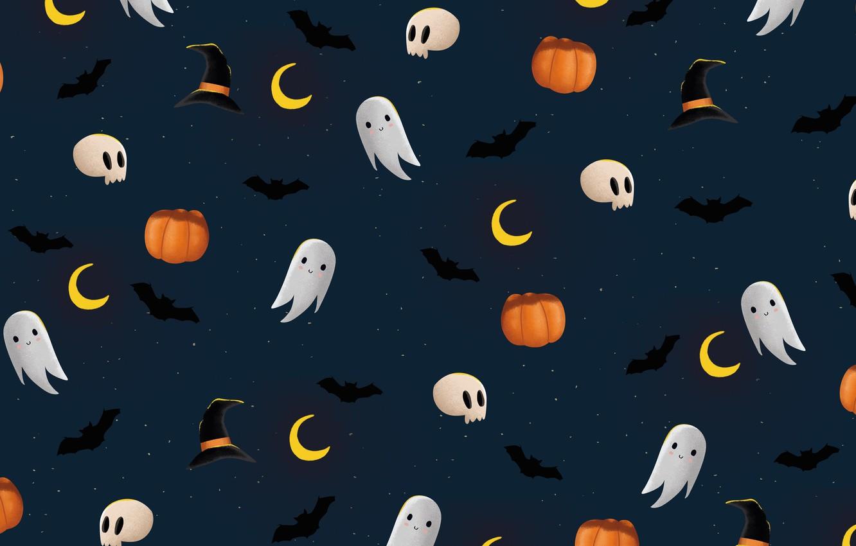 Photo wallpaper graphics, skull, texture, Ghost, pumpkin, Halloween