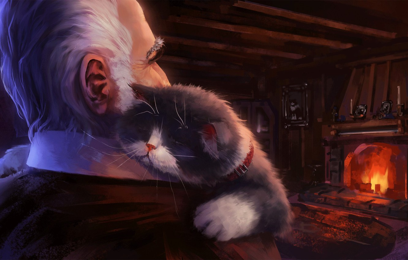 Photo wallpaper cat, comfort, house, heat, artist, fireplace, the owner, Andrew Biological, cat's journey
