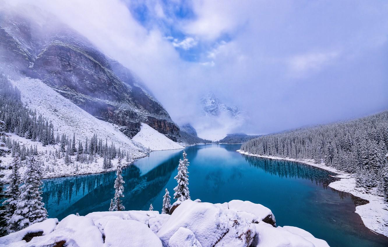 Wallpaper Winter Forest Mountains Lake Canada Albert