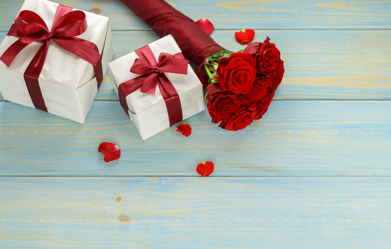 Photo wallpaper flowers, gift, roses, bouquet, red, red, love, flowers, romantic, valentine's day, roses, gift box