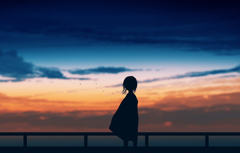 Photo wallpaper the sky, sunset, girl, postapokalipsis, by Gracile