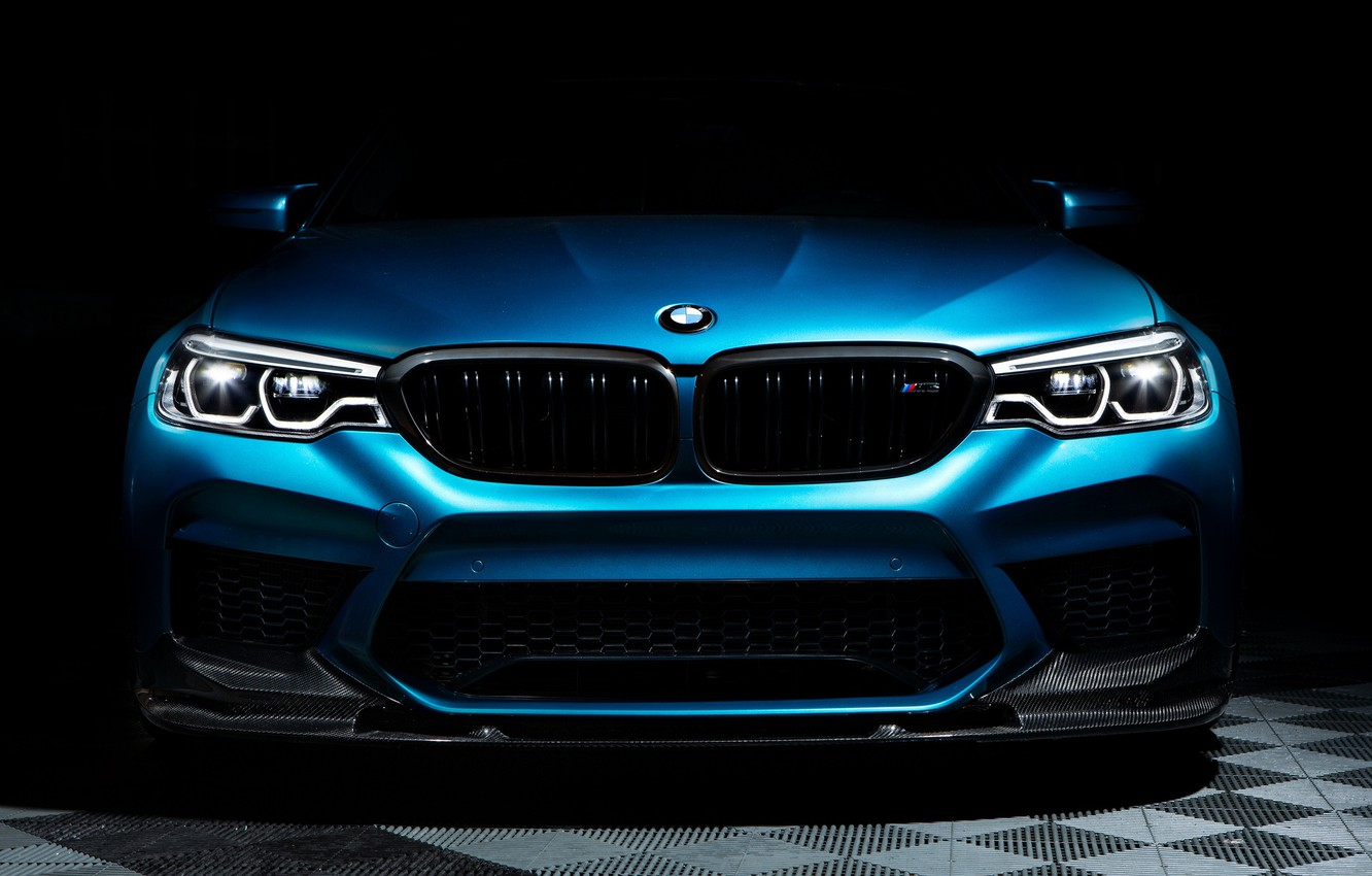 Photo wallpaper BMW, Blue, Front, Face, Sight, F90, Adaptive LED