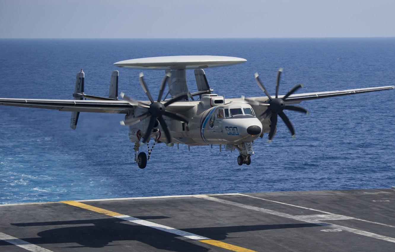 Photo wallpaper Landing, AWACS, The carrier, US NAVY, E-2D Hawkeye